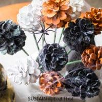 DIY Halloween Pine Cone Bouquet